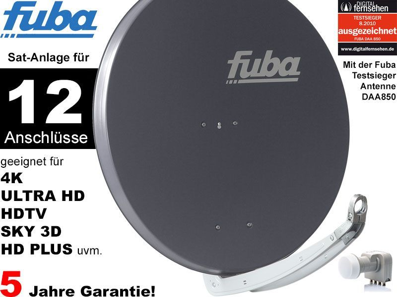 fuba profi85 hd12a sat anlage komplett f r 12 teilnehmer. Black Bedroom Furniture Sets. Home Design Ideas