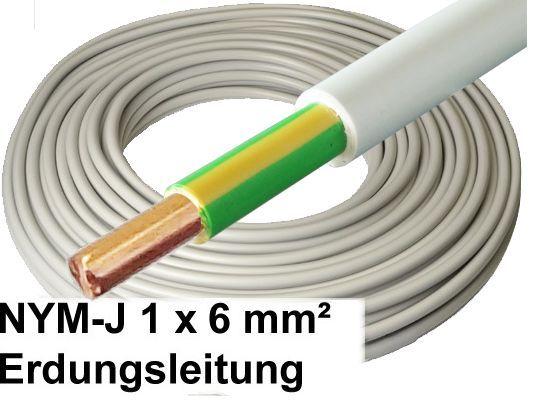 5 meter nym j kabel 1 x 6 mm grau erdungsleitung erdungskabel. Black Bedroom Furniture Sets. Home Design Ideas