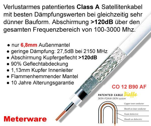 Bieffe Cavi CO 12 B90 AF Koaxialkabel, 6.8 mm, 120 dB, weiß Sat Kabel Class A Meterware