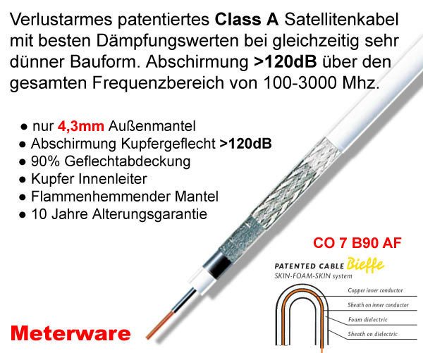 Bieffe Cavi CO 7 B90 AF Koaxialkabel, 4.3 mm, 120 dB, weiß Sat Kabel Class A Meterware