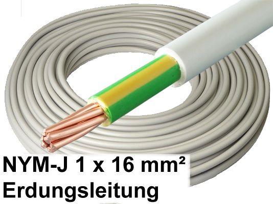 NYM-J Kabel, 1 x 16 mm², grau, Erdungsleitung / Erdungskabel