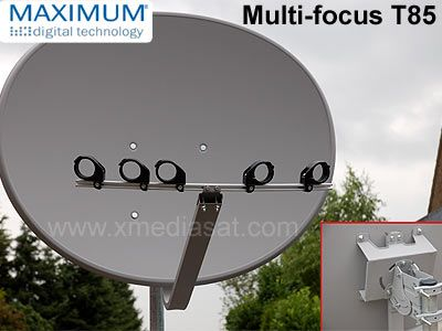 Maximum Multifocus T85 Satellitenschüssel, Sat Antenne Schüsselgröße: 85 cm, anthrazit, Original Maximum