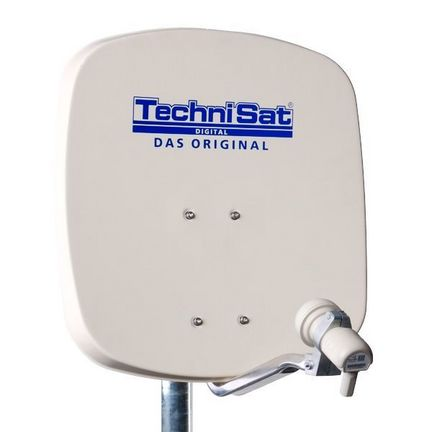 TechniSat 1045-8194 DigiDish 45 Sat-Antenne, 1 Anschluss, beige, mit Single-LNB, 4K / 3D / HDTV ready, ohne Receiver