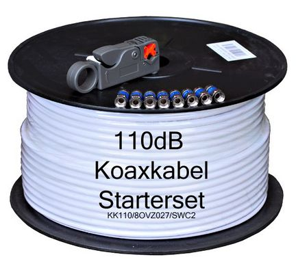 Sat Kabel Digital 110dB Koaxkabel Starterset, 7.1 mm, KK110/8OVZ027/SWC2