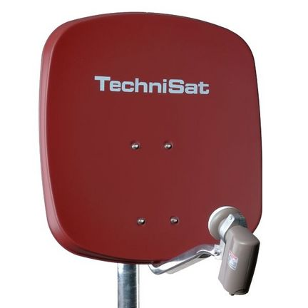 TechniSat DigiDish 45 Sat-Antenne mit Quad-LNB Farbe: ziegelrot / FULL HD / 3D ready