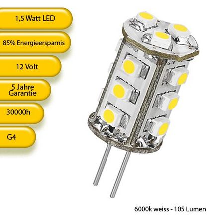 Goobay 30356 LED-Chip für G4 Lampensockel 15 SMD LEDs, Leuchtfarbe tageslicht weiss