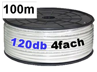 Transmedia KH120-100 Koaxialkabel, 8.2 mm, 120 dB, 100 m Spule, Sat Kabel HIGH Class A