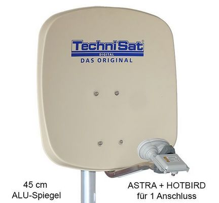 TechniSat DigiDish 45 Sat-Antenne Single / Astra + Hotbird / beige / FULL HD / 3D ready