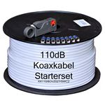 Sat Kabel Digital 110dB Koaxkabel Starterset 100 m 7.1 mm